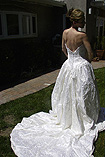 Used Vintage Satin Wedding Dress with embroidery and sequins