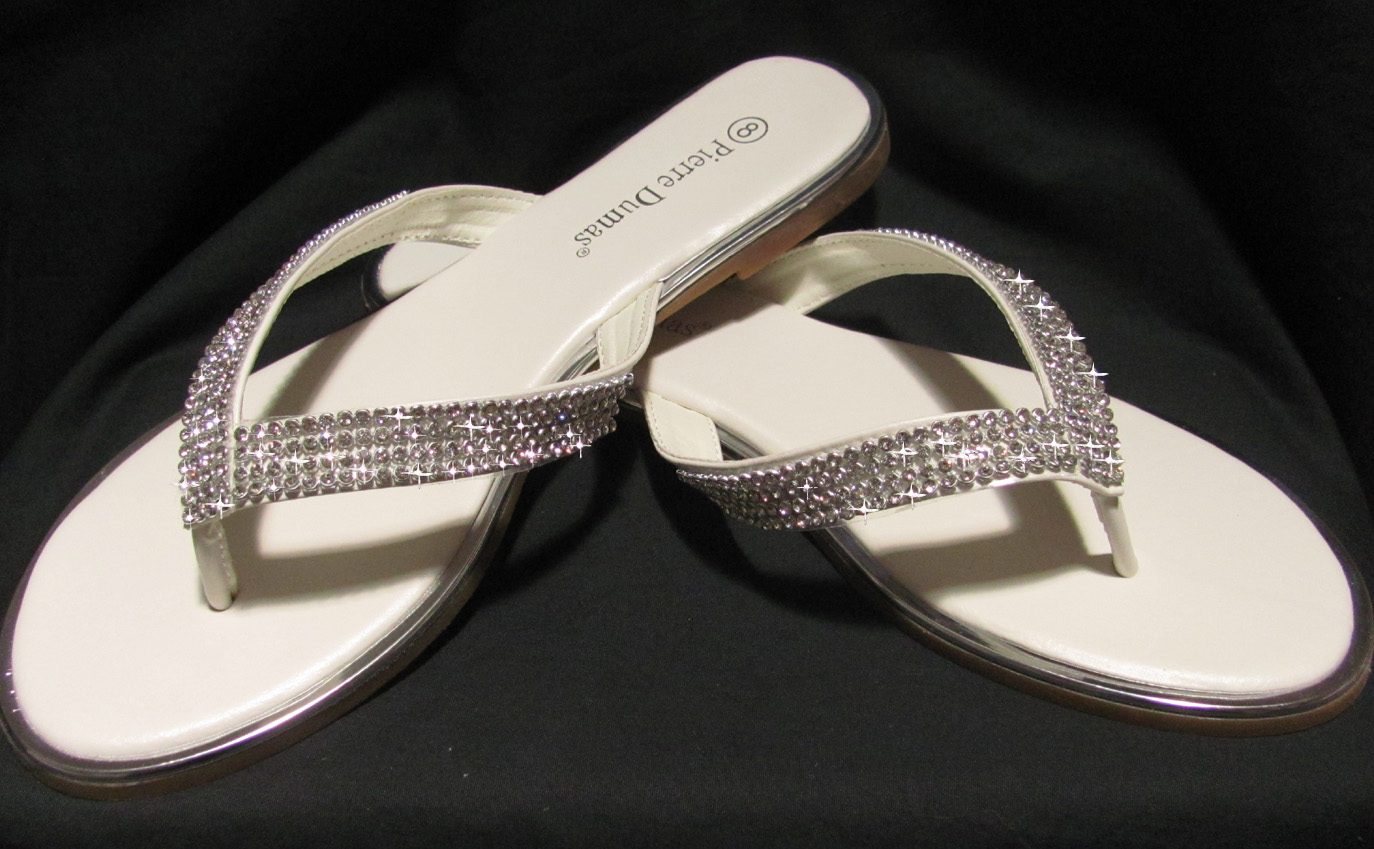 3bb0f8bb34d3 Brides off white flip flops with rhinestones for weddings