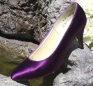 Used Plum Satin Low Heel Pumps