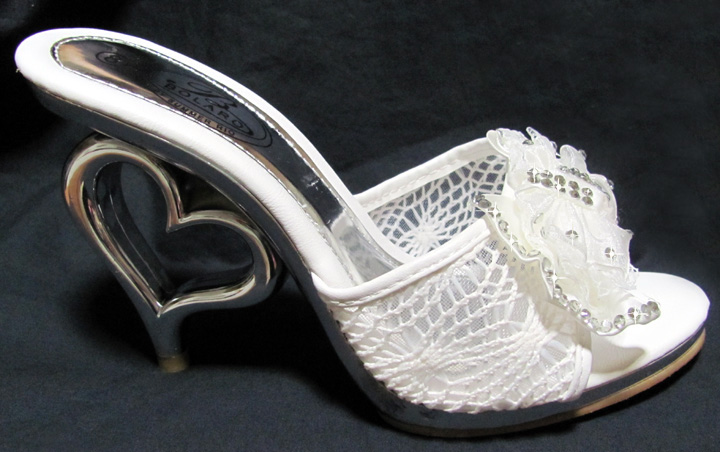 Off White 4 1/2 inch Heart Heel Bridal Slide with Satin Chiffon Rhinestone Bow