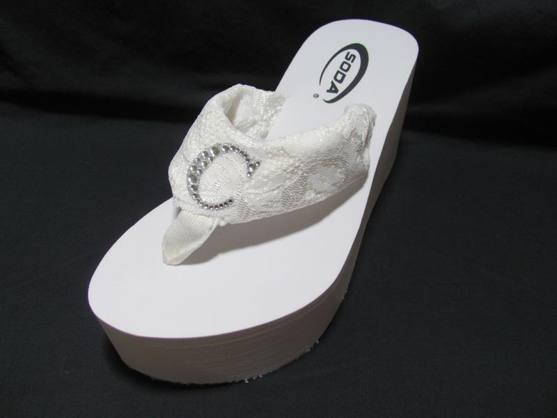 High Flip Flops with Lace Straps and Rhinestone Initial