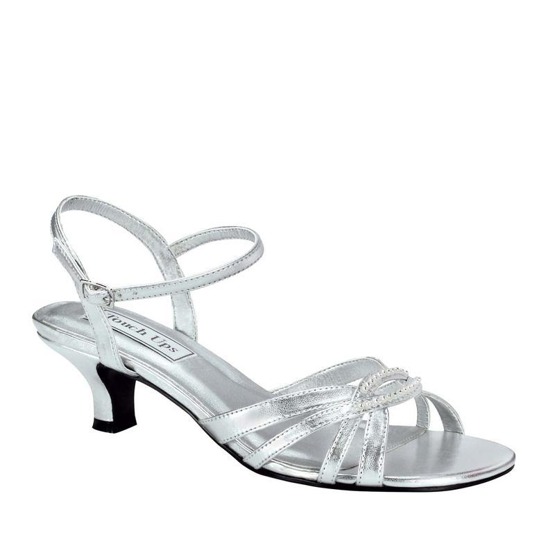 Silver Metallic Low Heel Sandals