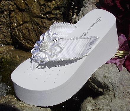 f0569ff2e Platform Bridal Flip Flops with satin and pearl flower