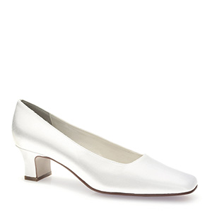 Bridal White Satin Dyeable low heel pumps  for weddings