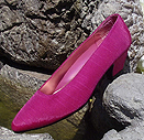 New Fuschia Satin Low Heel Pumps