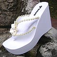 Elevated Platform Bridal Flip Flops for weddings and receptions