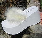 Platform Maribou Bridal Flip Flops for weddings in white and light ivory