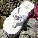 White platform bridal flip flops with memories frame.  Carry your loved ones or pets with you down the aisle!