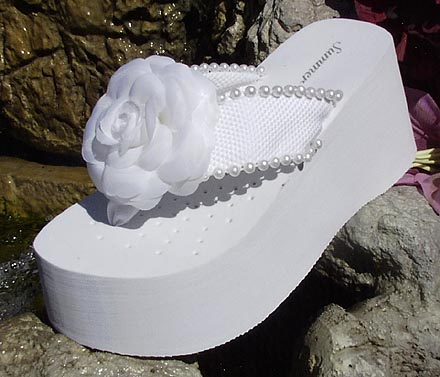 White Platform Flower And Pearl Flip Flops For Brides