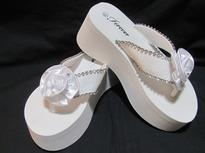 Platform  Bridal Flip Flops for weddings in white with Rhinestone Flower