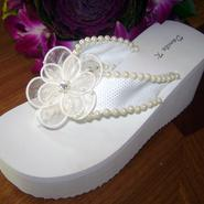 White Bridal Flip Flops with Ivory Pearls and flower trim for Weddings