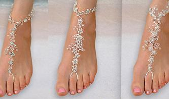 Rhinestone, Pearl, and Crystal Bridal Foot Jewelry for the bride