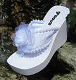Elevated Platform Bridal Flip Flops with Chiffon Flower for weddings and receptions