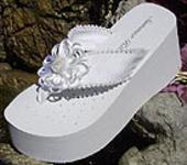 Platform Bridal Flip Flops with satin and pearl flower