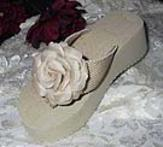 Dark Ivory Flower Platfrom Flip flops for weddinggs
