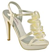 Ivory Satin Bridal Sandals with Romantic Ruffle for weddings