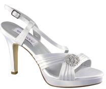 Dyeable White Satin Bridal Sandals with rhinestone Centerpiece for weddings
