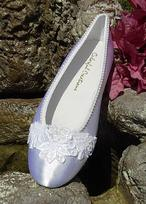Dyeable Satin Ballet Slippers with applique  for weddings