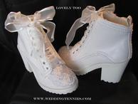 Cream tennies with lace and pearls