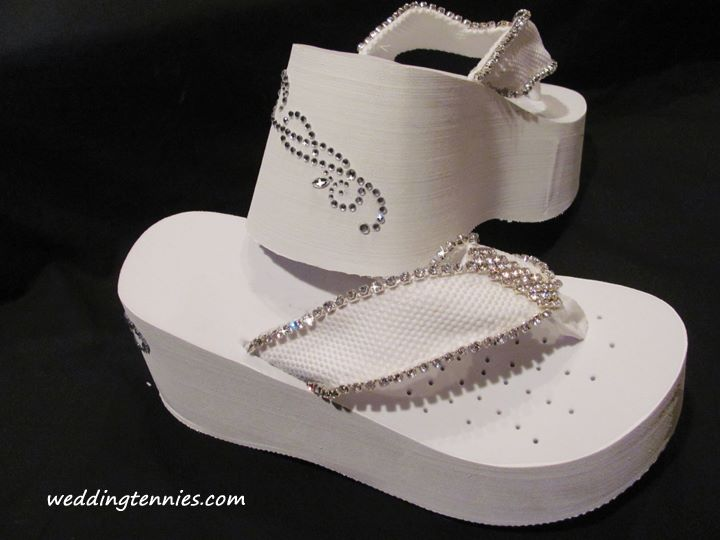 Platform Flip flops with beautiful Rhinestones