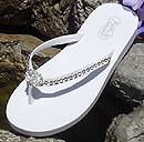 Rhinesotne lined low bridal flip flops