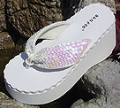 High Platform Irridescent Sequin Bridal Flip Flops for weddings