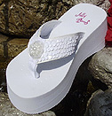 Platform White Sequin Bridal Flip Flops for weddi