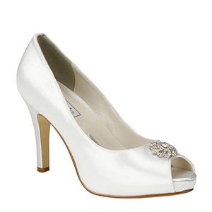Bridal White Satin Dyeable Peep toe pumps with rhinestone decoration for weddings