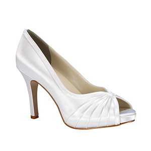 Bridal White Satin Dyeable pumps with peep toe and pleated vamp f